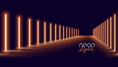 glowing golden neon lights line floor background