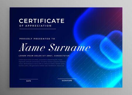 blue technology style innovation certificate of appreciation