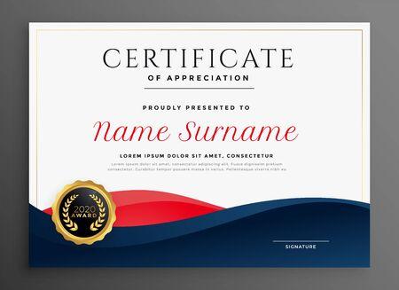 conception de modèle de certificat de diplôme bleu et rouge élégant