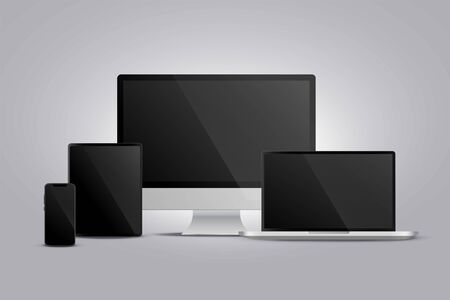 realistic display of monitor laptop tablet and smarphone Vectores