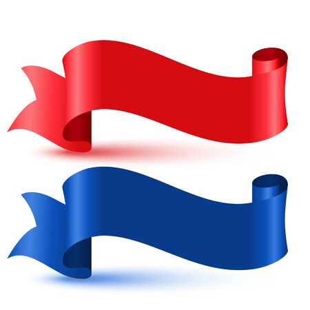 red and blue 3d flag ribbon banner
