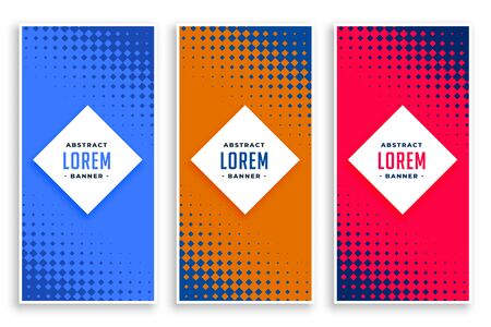 abstract halftone vertical banners set Illustration