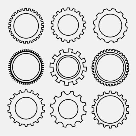 set of line style gear symbols
