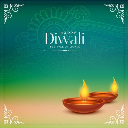 happy diwali beautiful background with realistic diya design