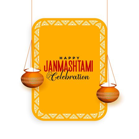 hindu janmashtami festival celebration greeting design