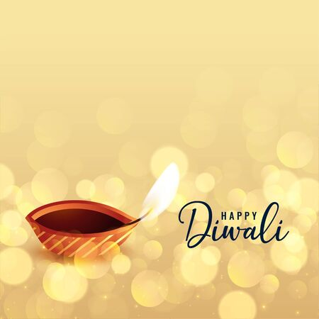 beautiful happy diwali bokeh background with diya design Stock Illustratie