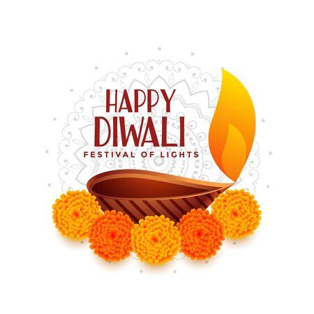 happy diwali festival of light with diya design Stock Illustratie