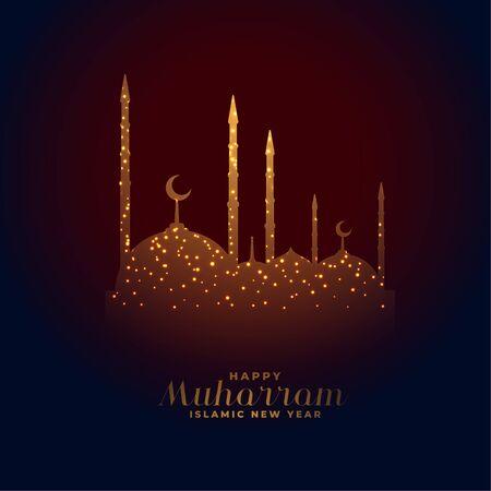elegant glowing mosque happy muharram design background
