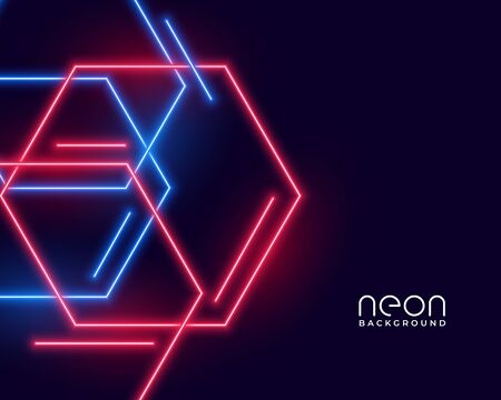hexagon shape neon lights in blue and red colors  イラスト・ベクター素材