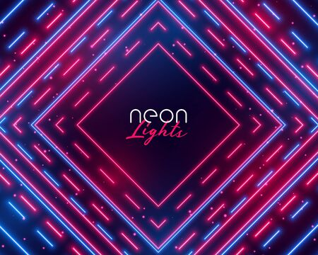dazzling neon lights abstract background in blue and red shades