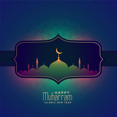 happy muharram islamic festival beautiful greeting design