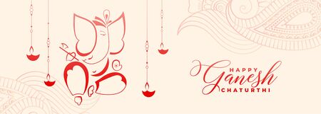 happy ganesh chaturthi festival greeting with diya