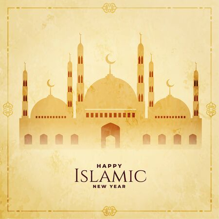happy islamic new year greeting festival background