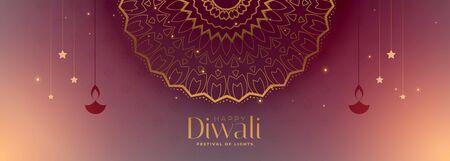 traditional happy diwali beautiful banner with mandala pattern Illustration