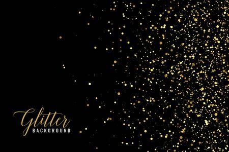 scintillement abstrait de paillettes dorées sur fond noir
