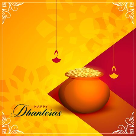 happy dhanteras festival greeting card background design