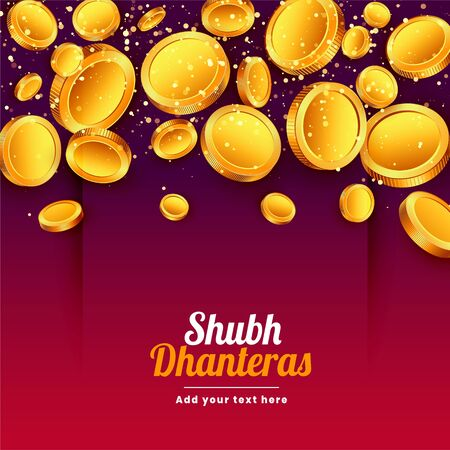 shubh dhanteras falling golden coins festival background