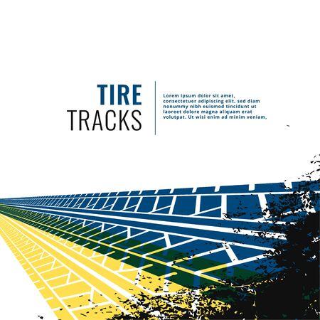 grunge tire track print marks background Illustration