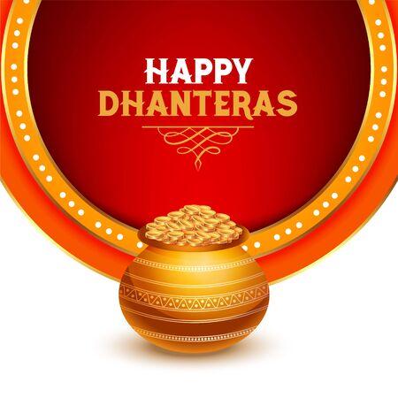 beautiful happy dhanteras greeting card design with gold coin kalash