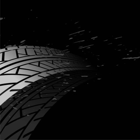 black background with tire track print marks