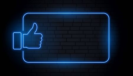 like thumb in blue neon style with text space