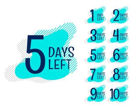 number of days left countdown banner set