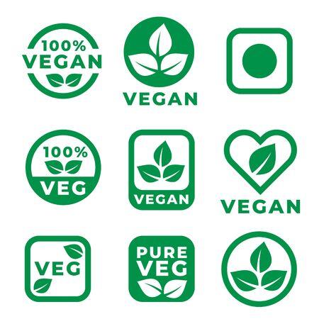vegan food labels set in green colors Vetores