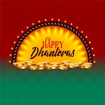 creative happy dhanteras festival card greeting design background