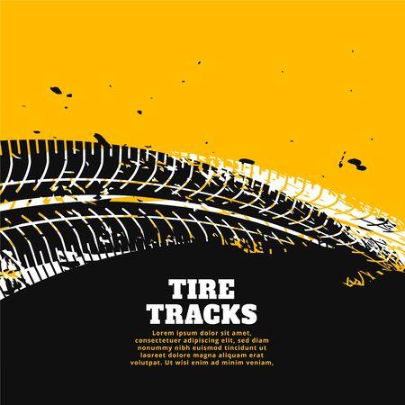 tire tracks print marks on yellow background design Illustration