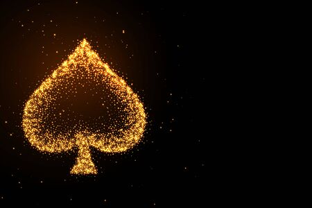 glowing golden glitter spades symbol on black background Vector Illustration