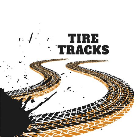 abstract racing tire tracks print marks background Illustration
