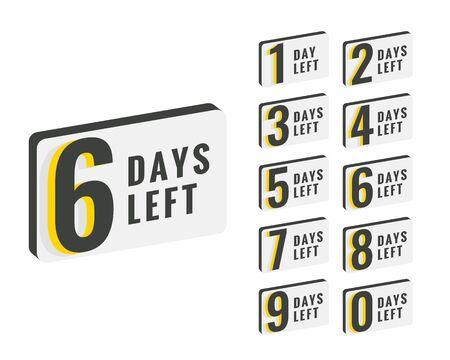 days left countdown time banner design Ilustração