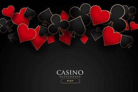 Casino-Spielkartensymbole auf schwarzem Hintergrund