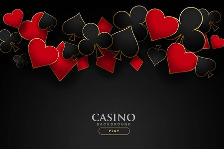 simboli delle carte da gioco del casinò su sfondo nero