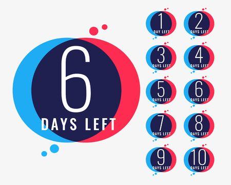 days left countdown number banner design Ilustração
