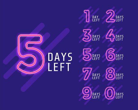number of days left banner for marketing Ilustração