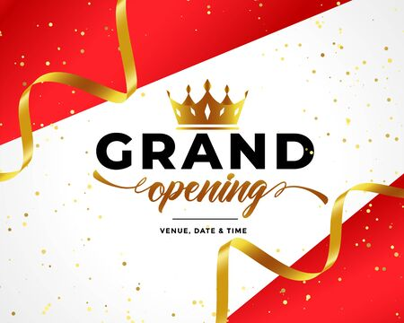 grand opening celebration background with golden confetti and crown