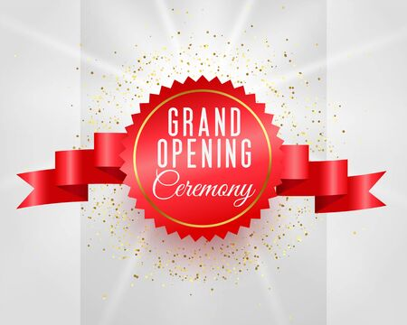 grand opening ceremony celebration banner with 3d ribbon Vector Illustration