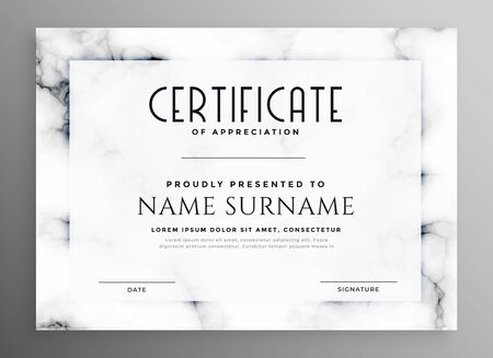 stylish white certificate design with marble texture Stock Vector - 129630798