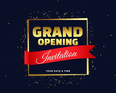 grand opening invitation banner in golden theme