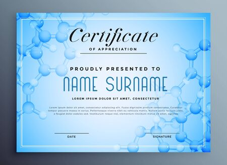 medical science certificate design with molecular structure Stock Vector - 129630812