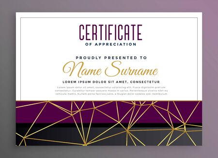 premium multipurpose certificate with golden low poly lines Stock Vector - 129630815
