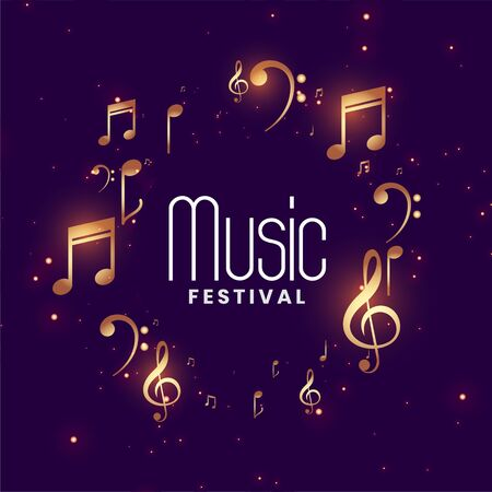 music festival concert background with golden musical notes