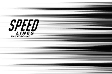 linear speed lines in black and white comic style Vettoriali