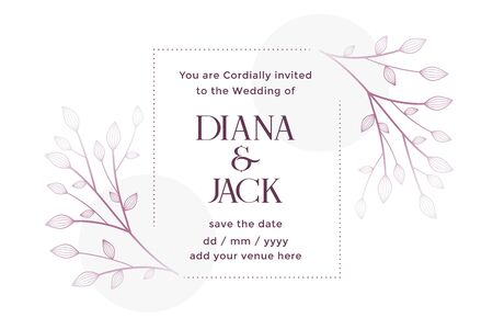 white wedding card with floral decoration design