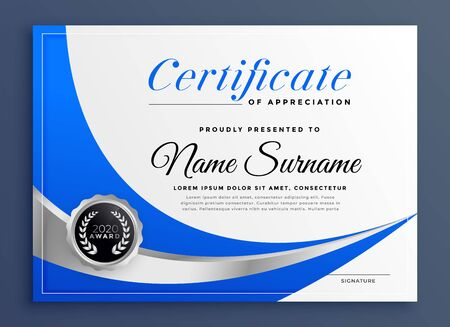 stylish blue certificate template design with wavy shape Stock Vector - 129630625