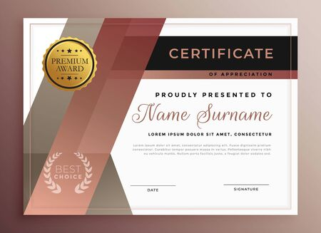 business certificate template design in modern geometric style Stock Vector - 129630633