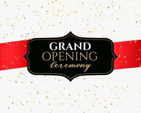 grand opening ceremony banner with golden confetti