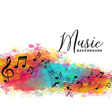 abstract watercolor music background with notes symbols Иллюстрация