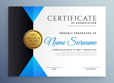 modern blue multipurpose certificate template design Stock Vector - 129630661